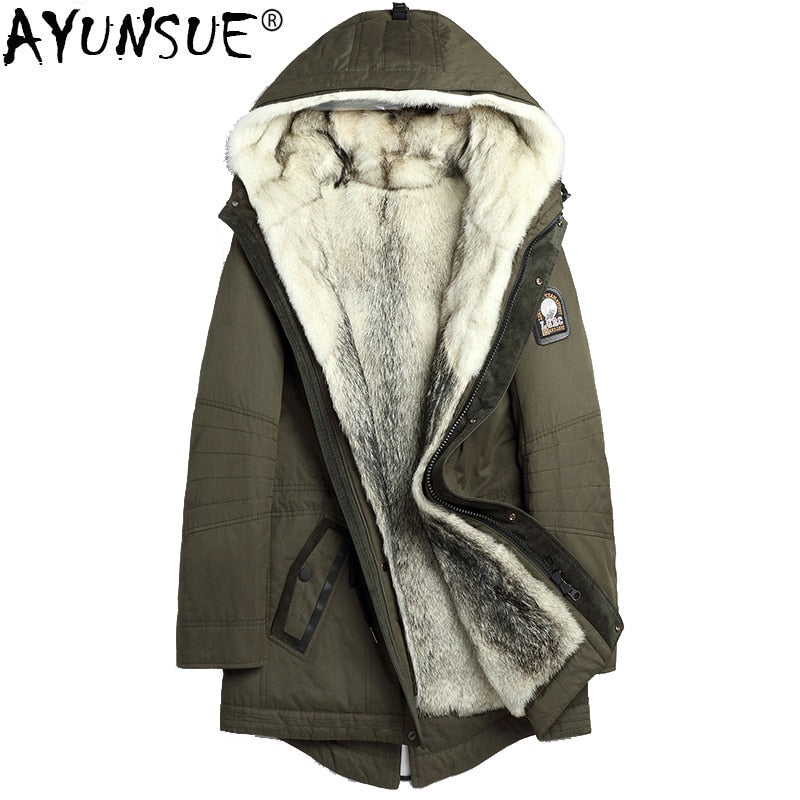 AYUNSUE Real Wolf Fur Liner Warm Coat
