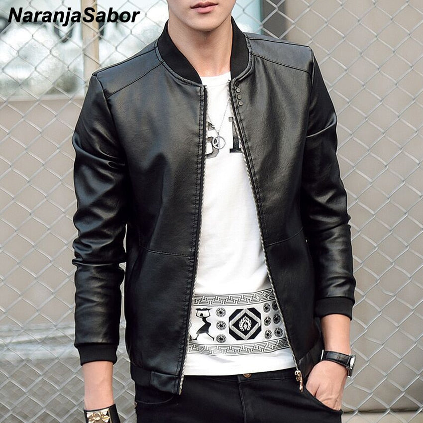 NaranjaSabor Faux Biker Leather Jacket - Jacketfy