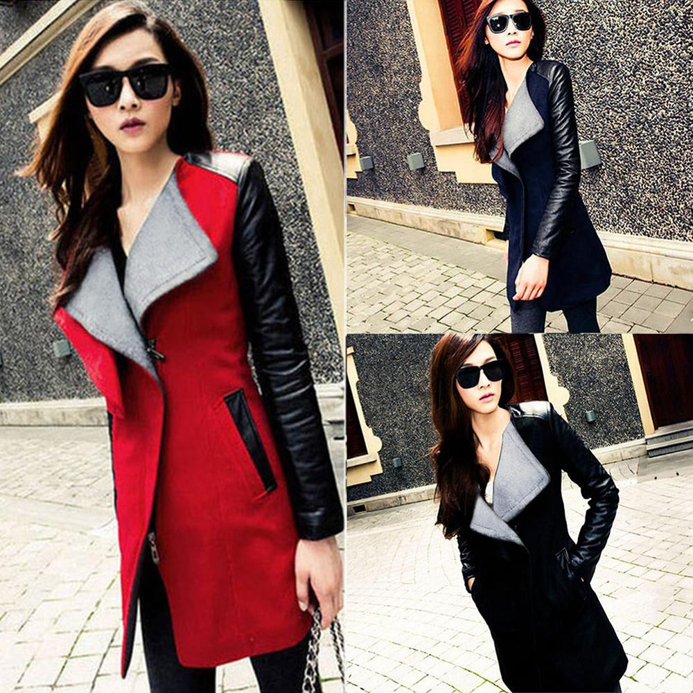 PU Leather Patchwork Slim Wool Coat