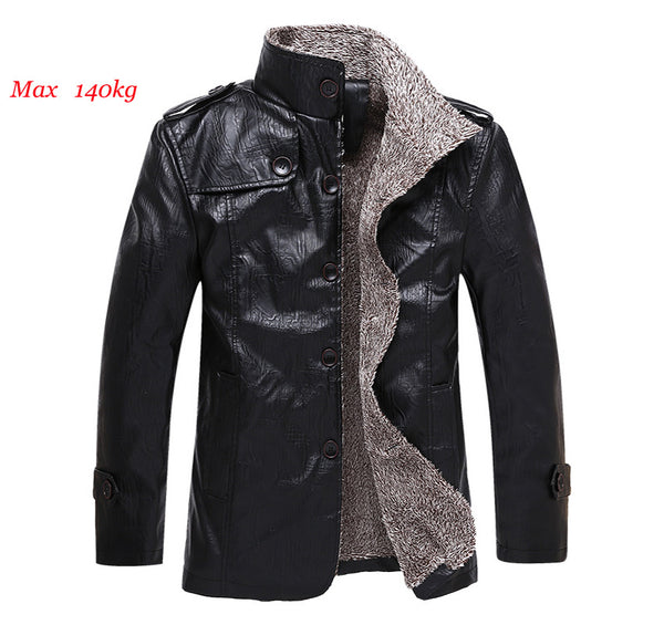 Men Casual Velvet PU Leather Jacket