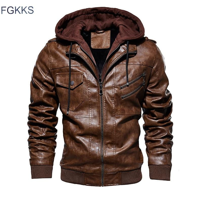 Casual Hooded Faux Mens Leather Jackets - Jacketfy