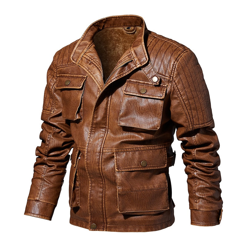 Safari style Faux  Leather Jacket Men Casual Slim Fit Washed PU Faux Leather Coat Mens Thick Plus  Motorcycle Bomber Jackets
