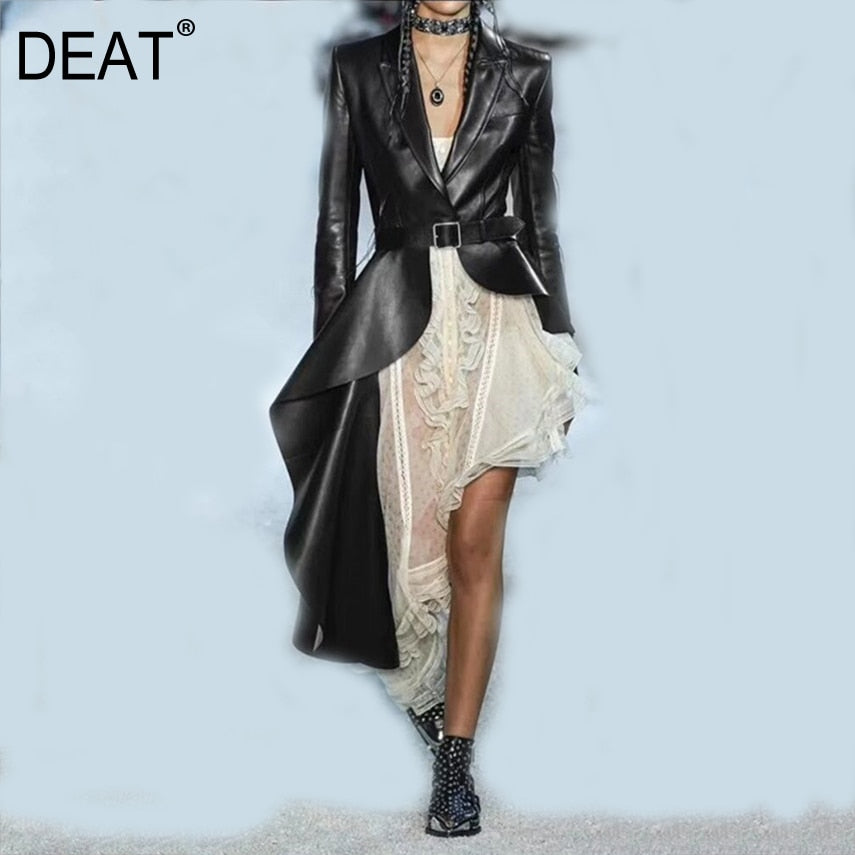 DEAT Women Full Sleeve PU Leather Asymmetrical Trench
