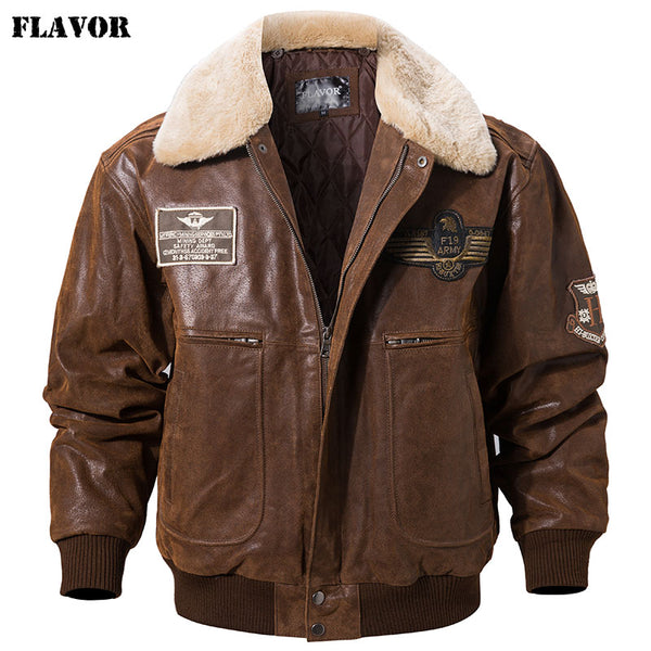 FLAVOR Leather Bomber Jacket - Jacketfy