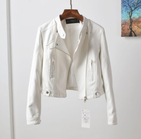 Female Paragraph Lapel PU Leather Jacket
