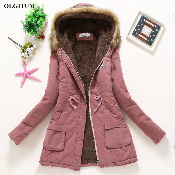 Women Casual Parka Military Hooded Fur Coat