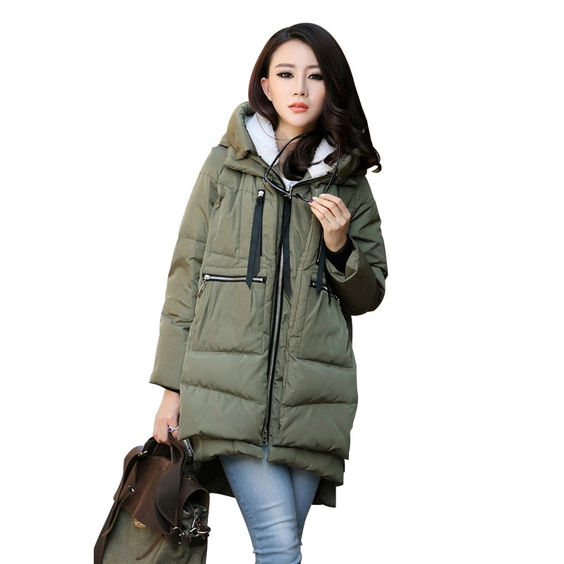 Women Zipper Big Pocket Army Green Hooded Jacket