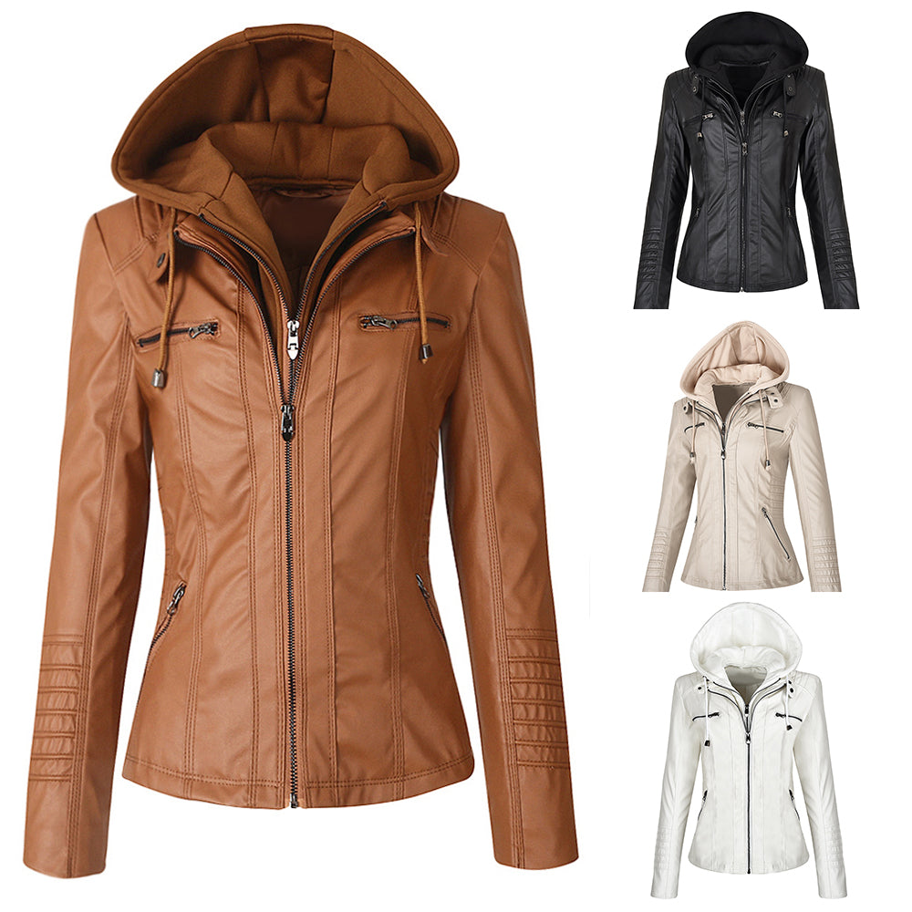 Women Hoodies Faux Leather Jacket