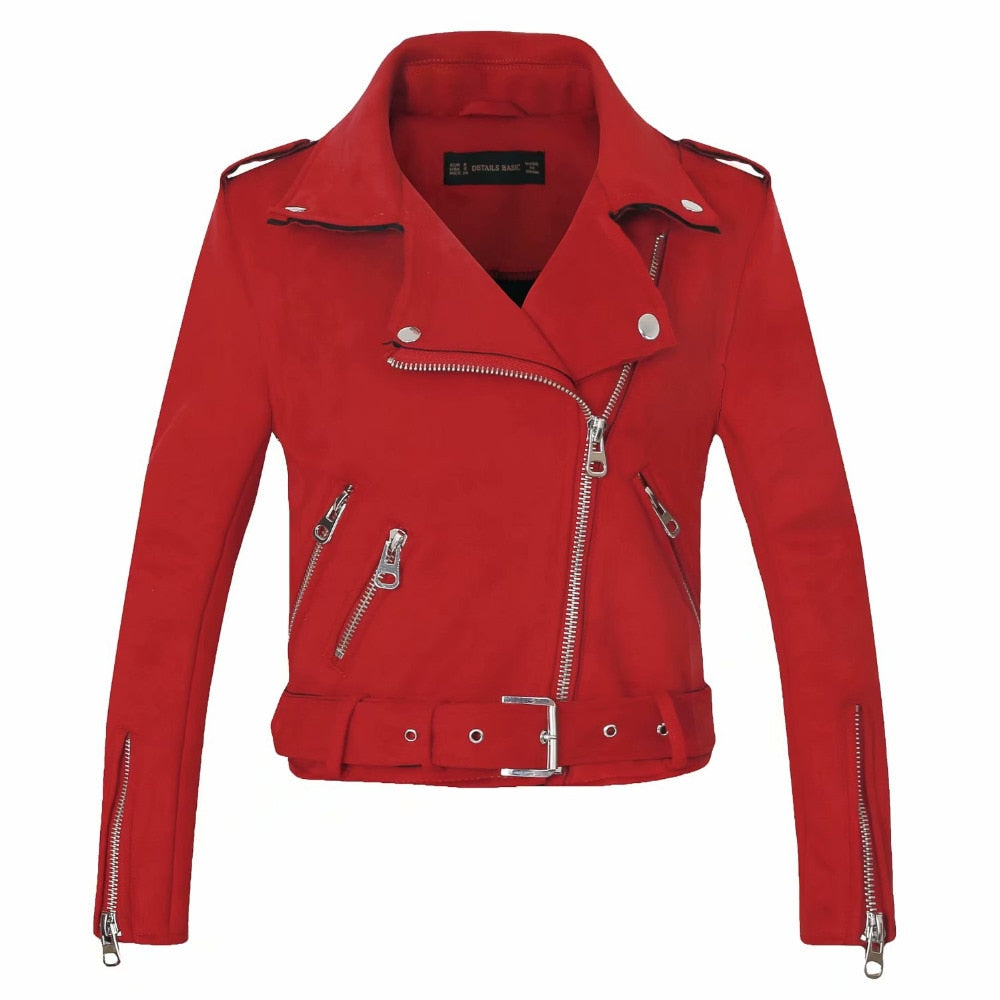 Women Suede Faux Leather Jacket