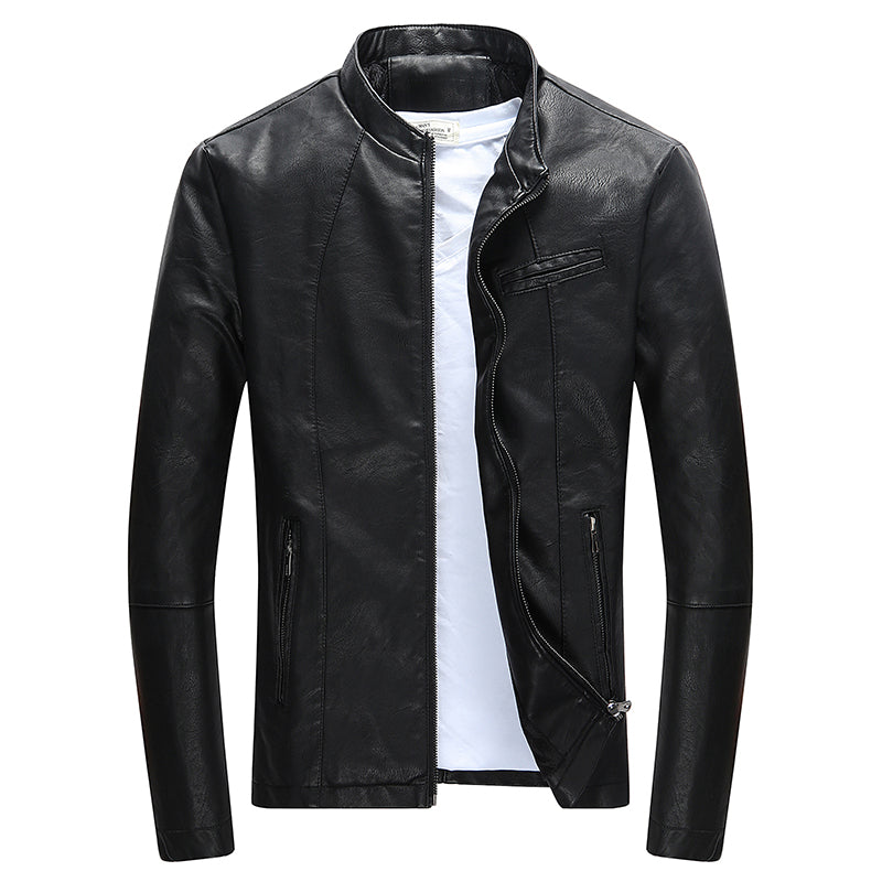 Wordless PU Leather Jacket - Jacketfy