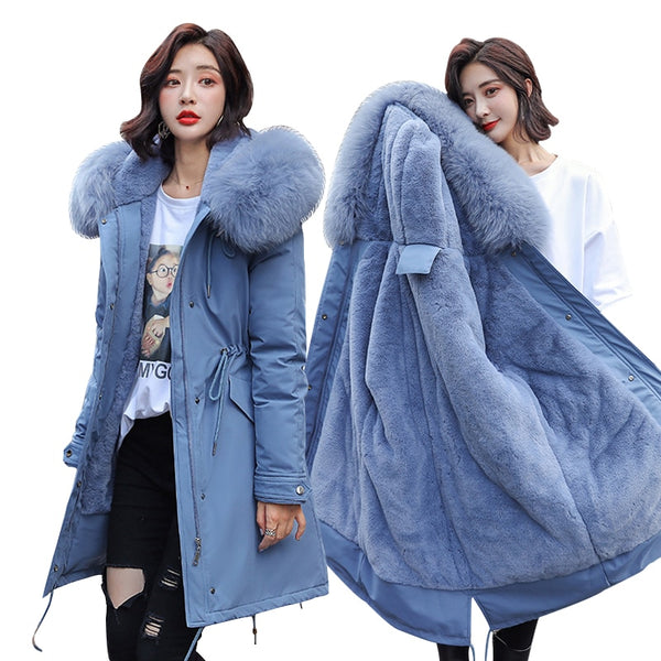 Women -30 Degree Hooded Fur Collar Parkas Coat
