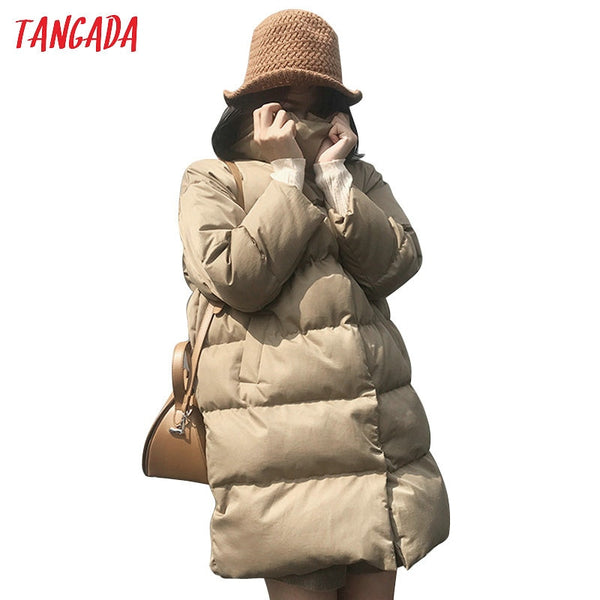 Tangada Women Solid Oversize Long Parka