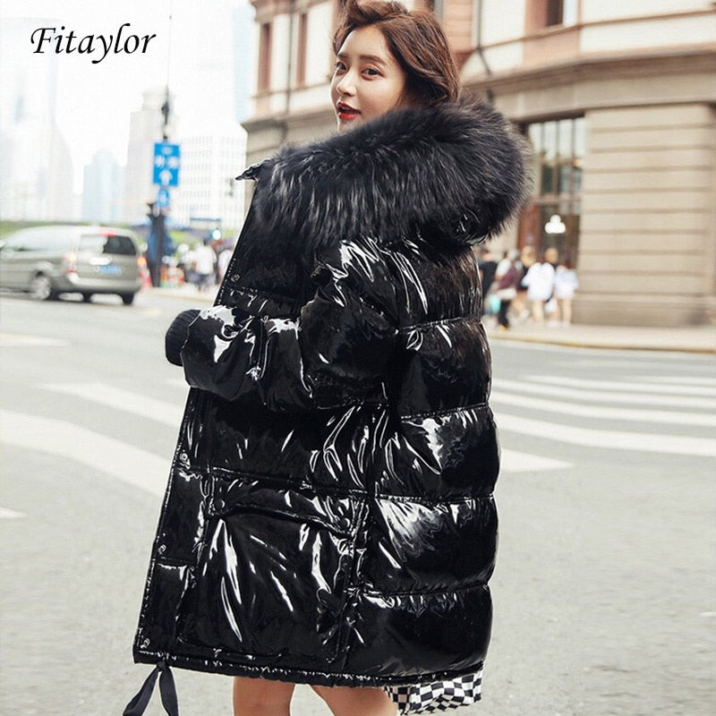 Fitaylor Real Natural Fur Patent Waterproof Coat