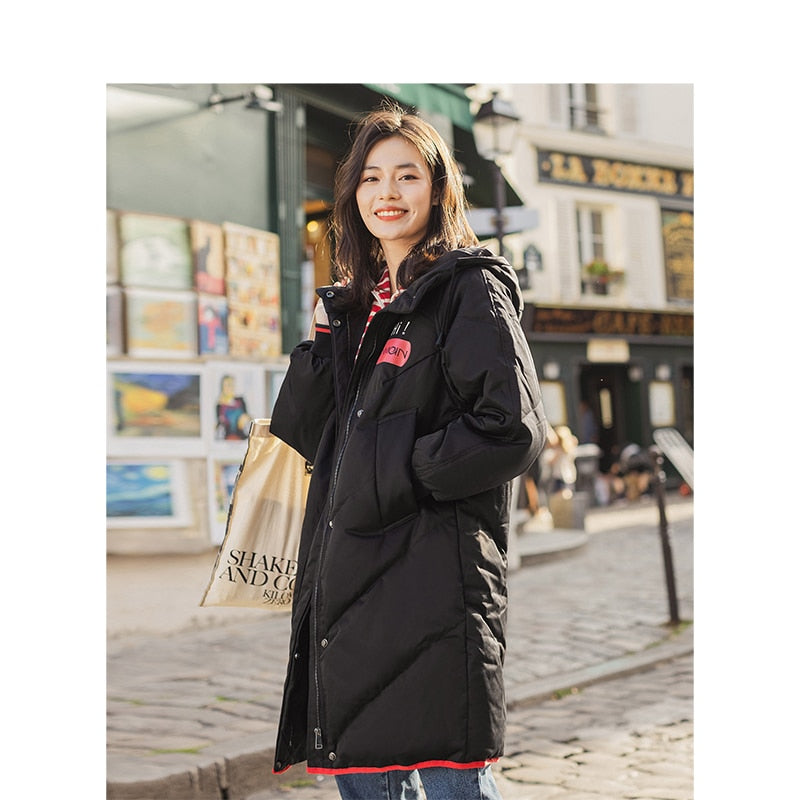 INMAN Hooded Leisure Ladies Long Duck Overcoat