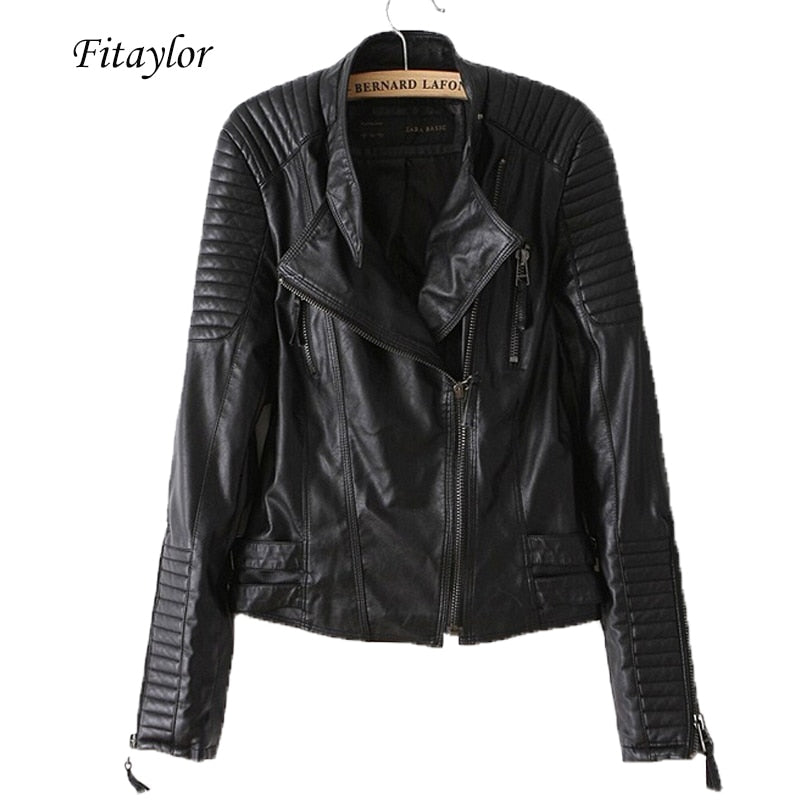 Fitaylor PU Motorcycle Leather Jacket