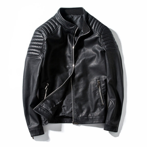 Men Motorcycle PU Casual Slim Fit Jacket