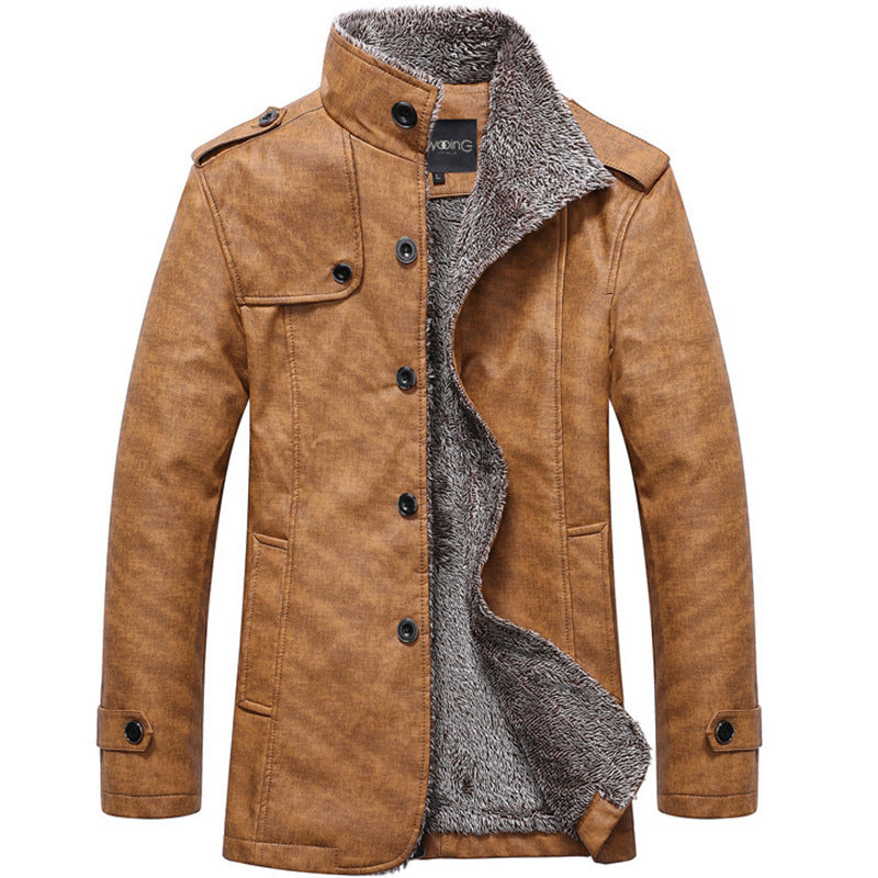 Smart Casual Stand Collar Trench Leather Coat Jacket - Jacketfy