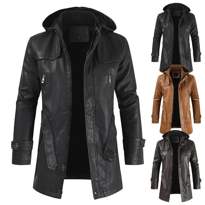 Casual Hooded Slim-fitting Leather Jacket - Jacketfy