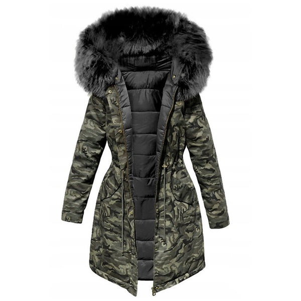 Casual Military Fur Top Parka  Coats