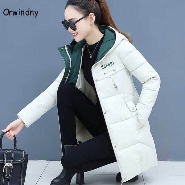 Orwindny Women Parkas Hooded Long Jaqueta Feminina