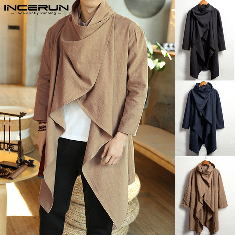 INCERUN Men Long Sleeve Scarf Collar Coat - Jacketfy