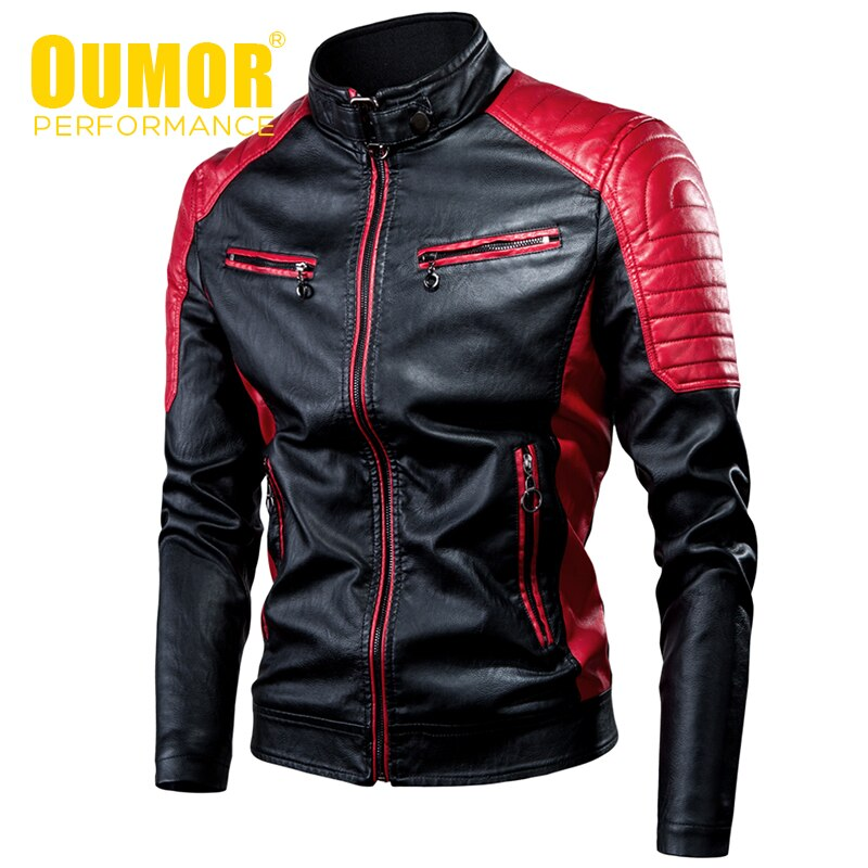Oumor Biker Leather Jacket Coat - Jacketfy