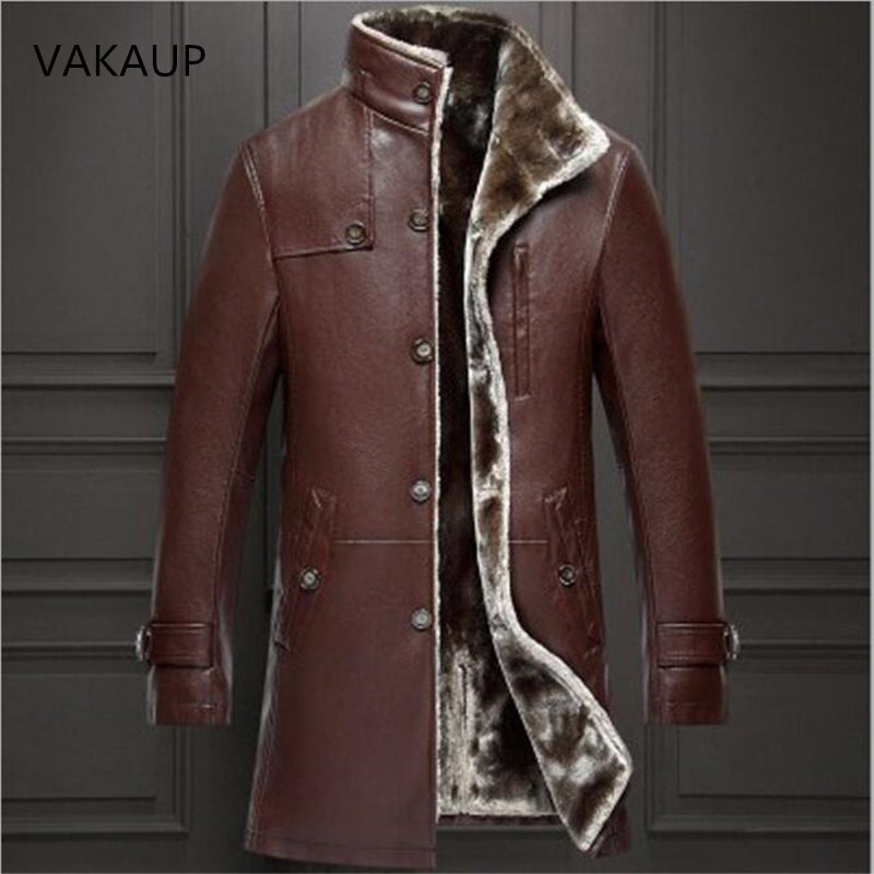 Mens Sheep Leather Parka Coat