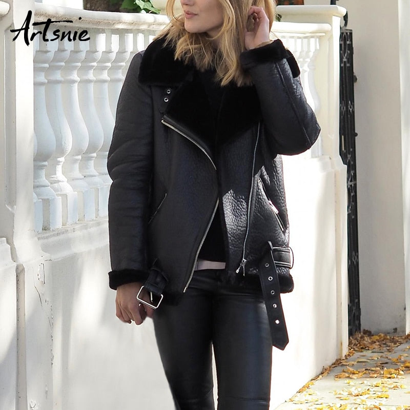 Women Faux Zipper Leather Jackets