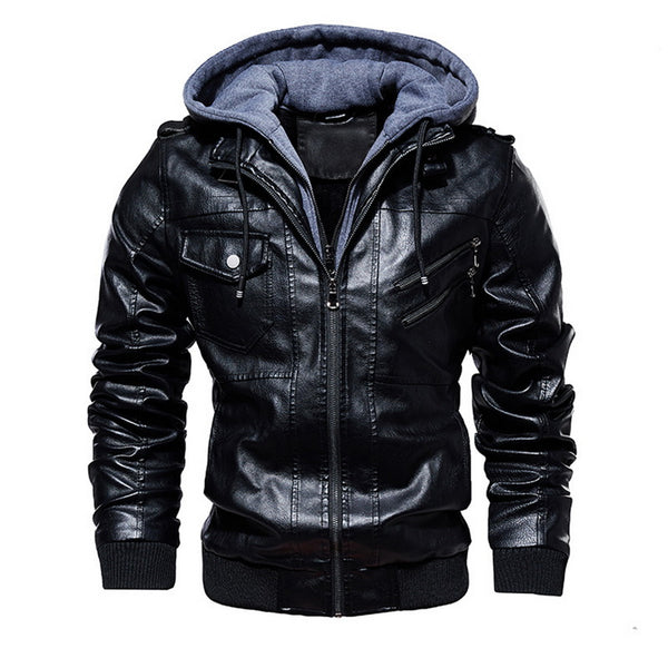 Men Faux Leather Hooded Motorcycle Jacket