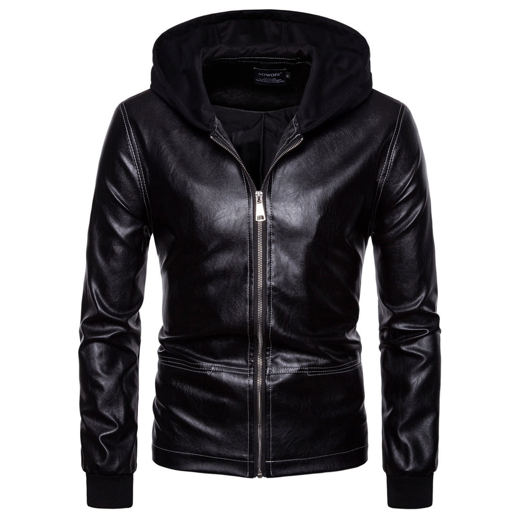 Men Motorcycle Bomber Hooded Leather Jackets