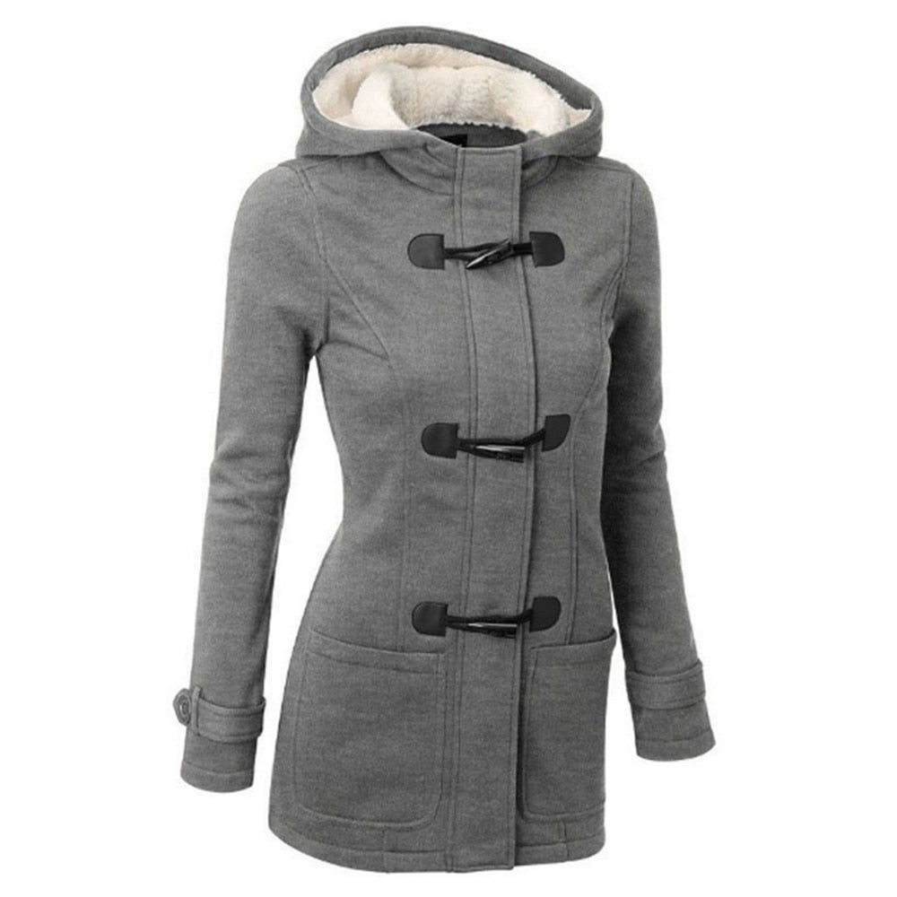 Women Long Hooded  Mixed Cotton Horn Buckle Jacket