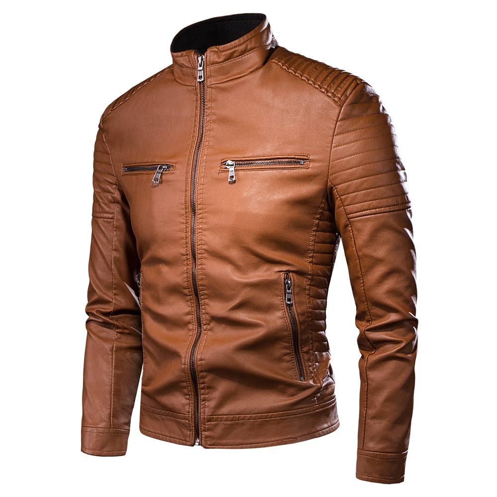 Men Motorcycle Causal Vintage Leather Jacket