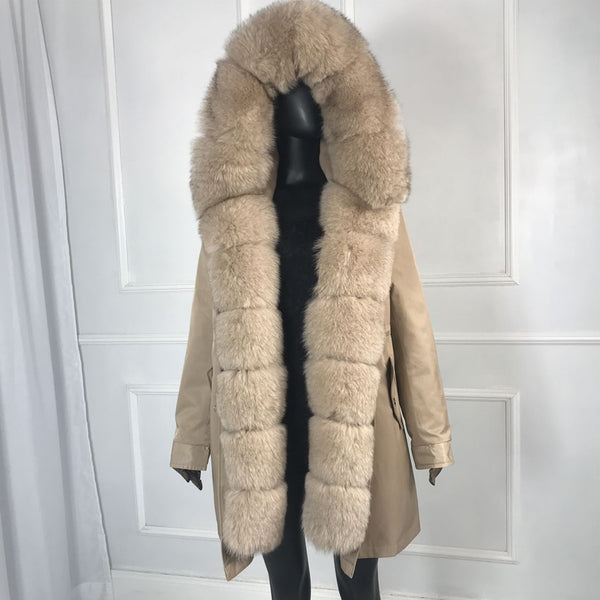 Female Natural Rabbit Fur Detachable Parka