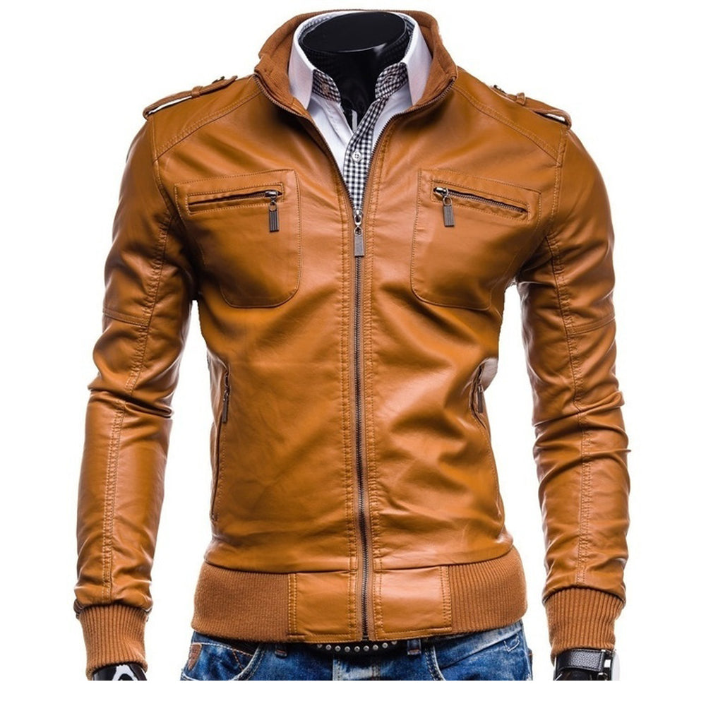 ZOGAA  Locomotive Men Leather Jacket