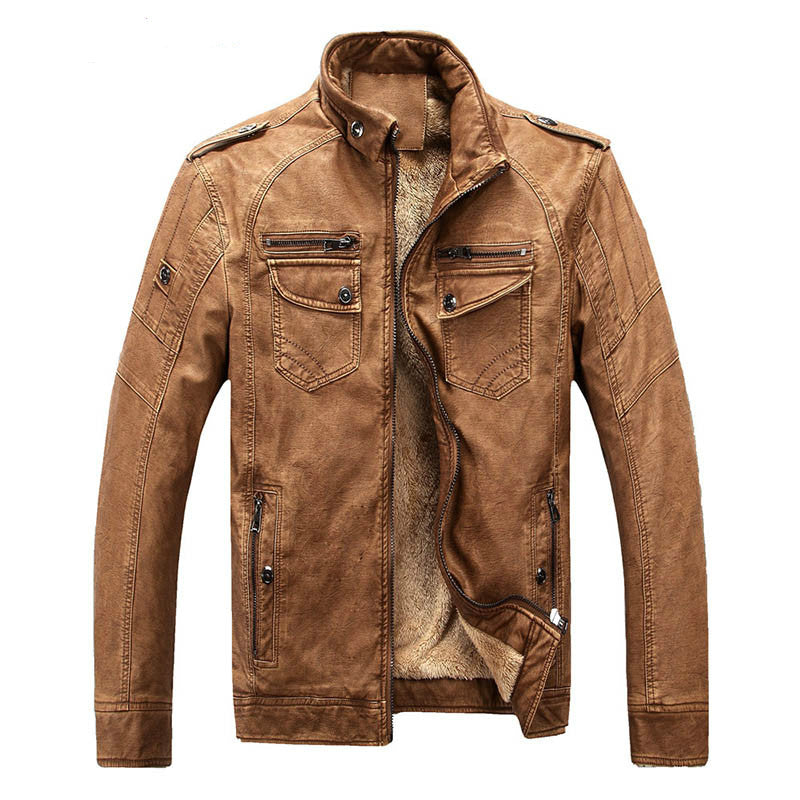 Men Soft Vintage Brown Leather Jacket