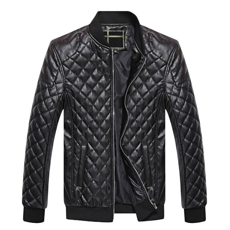 Men Casual Parkas Leather Jacket