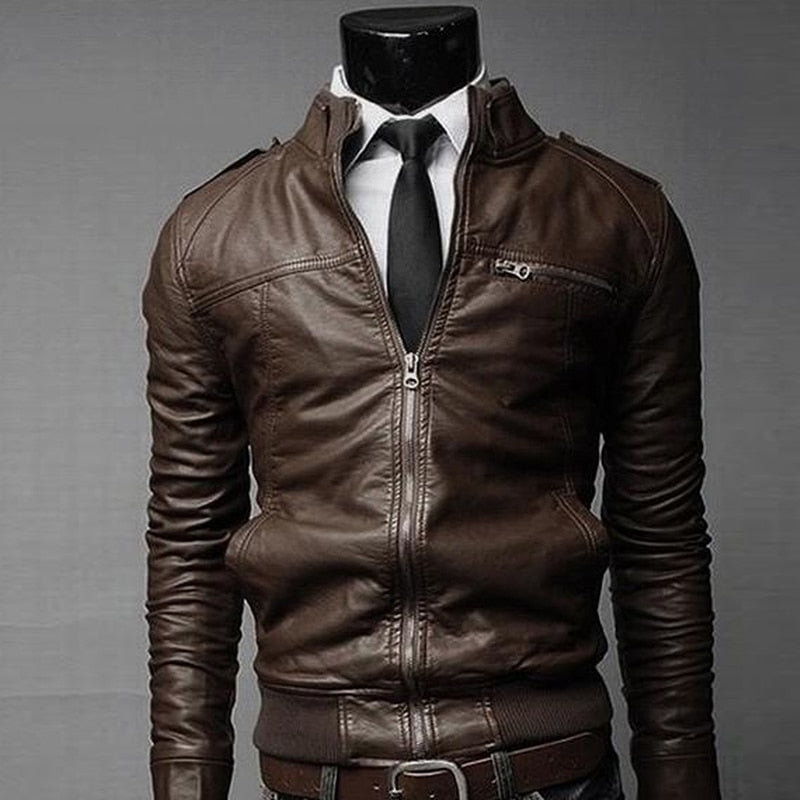 Men's Black Brown Stand Collar Coat