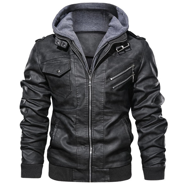Men's Pu Leather Jacket Removable Hood