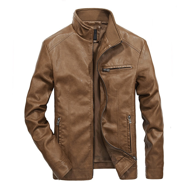 Stand Collar Casual Fit Mens Leather Jacket - Jacketfy
