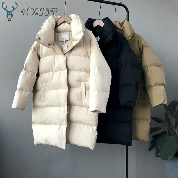 HXJJP Women Winter Long Casual puffer jacket