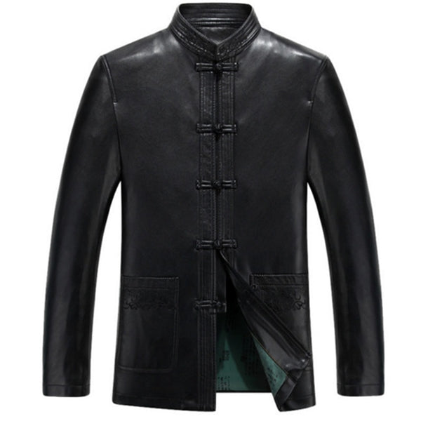 Men's Genuine Leather Long Jacket