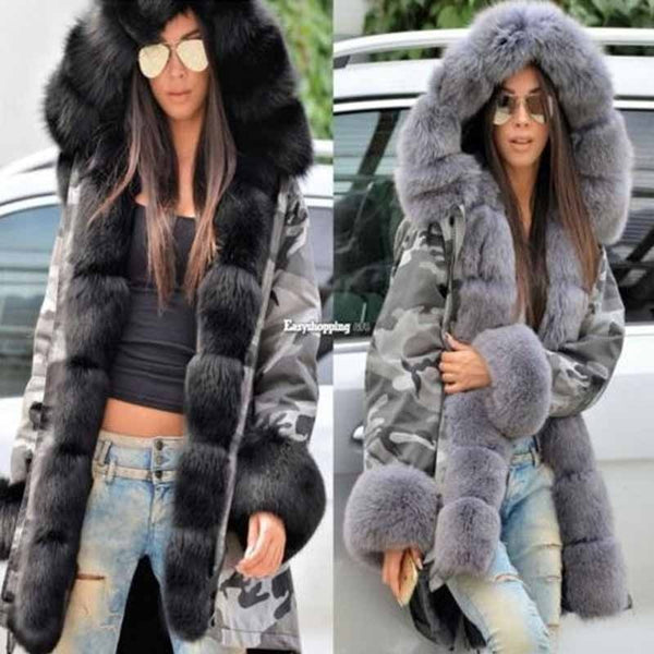 Real Rex Fur Liner Parkas Whole Skin Women Coat
