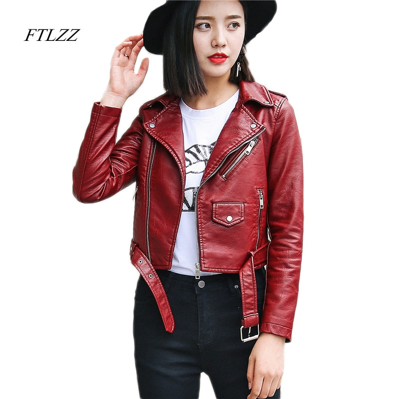 Ftlzz Pu Bright Color Faux Leather Jacket