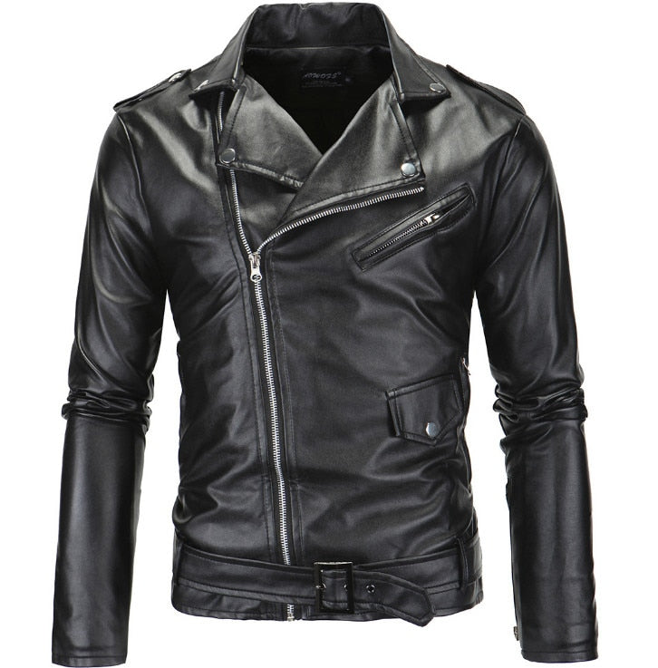 Motorcycle Slim Fit Oblique Zipper  Leather Jacket - Jacketfy