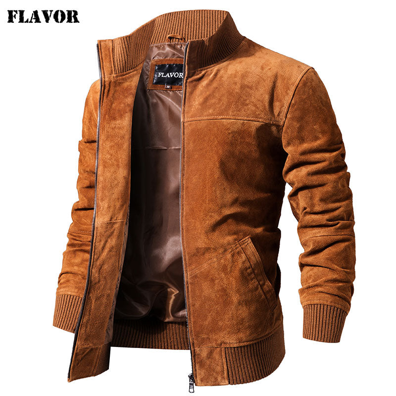 FLAVOR Pigskin Genuine Leather Coat With Rib Cuff Standing Collar