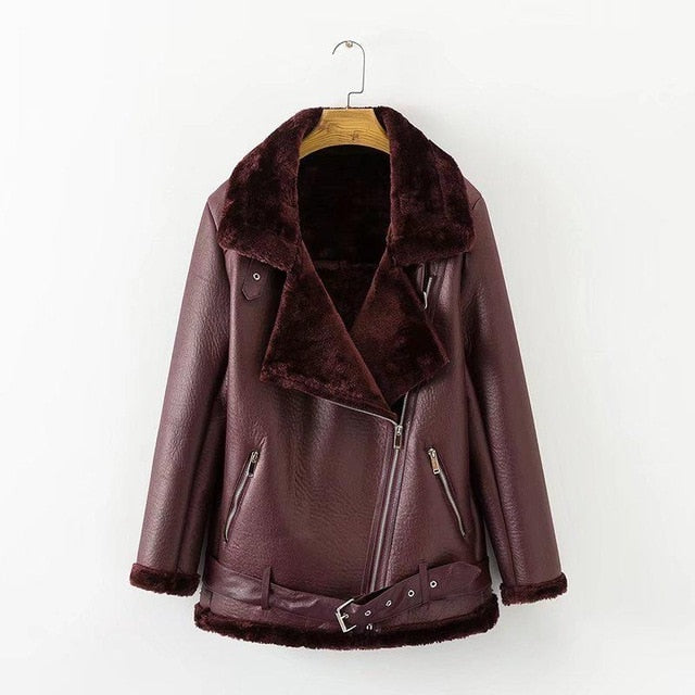 Fitaylor Fur Collar Faux Lamb Leather Jacket