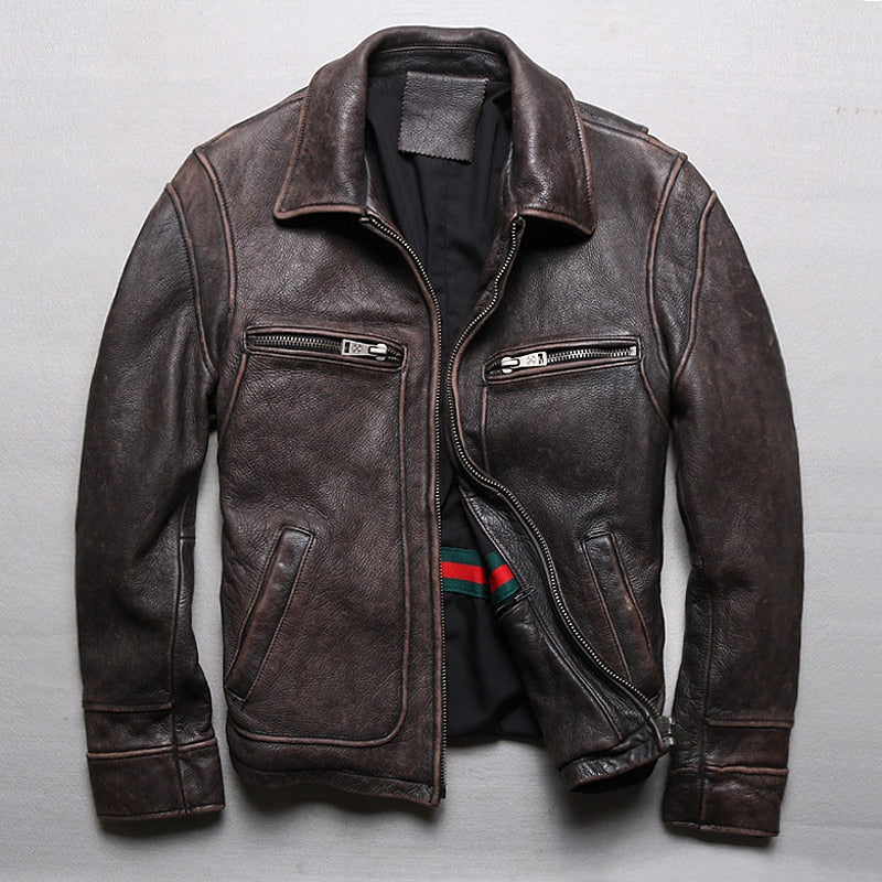 Vintage Brown Genuine Leather Jacket