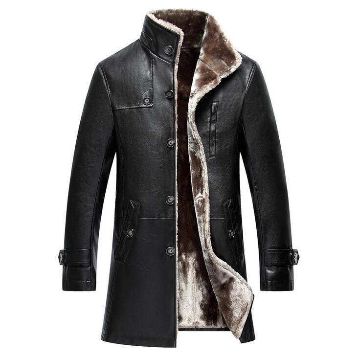 Long Section Casual turn-down Collar Leather Coat