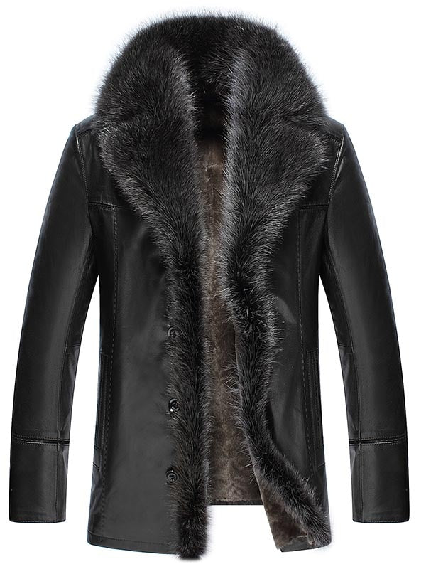 Faux Fur Leather Winter Thicken Coat