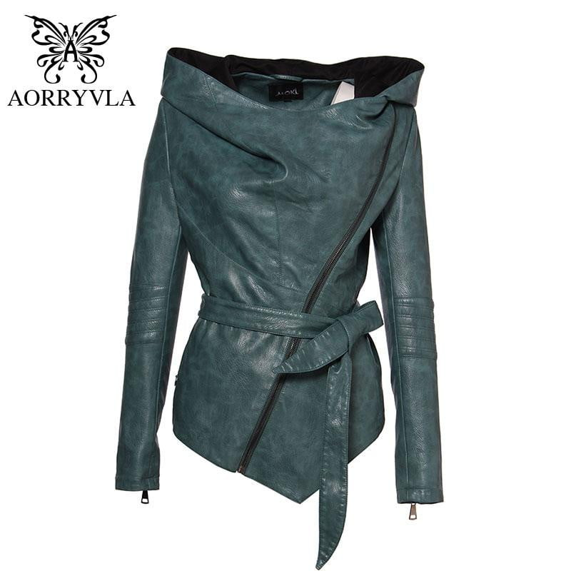 AORRYVLA Full Sleeve Hooded Sashes Casual Women Leather Jacket Coat - Jacketfy
